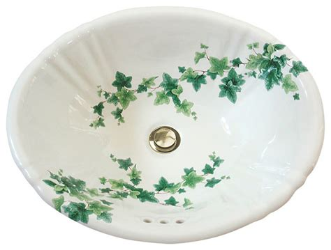 English Ivy Hand Painted Sink Traditional Bathroom