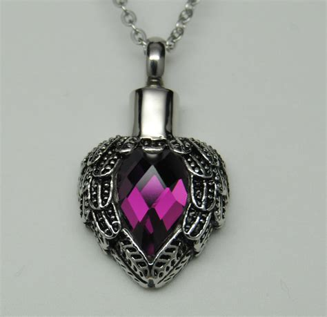 purple wings heart cremation urn necklace angel wings