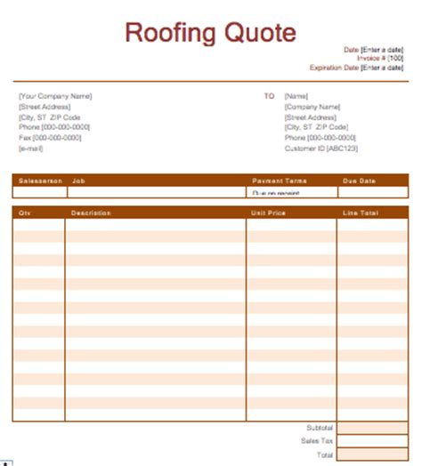 roofing quotation template quote template