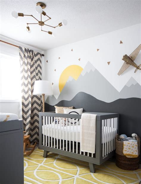 industrial nursery decor transitional with chevron curtains white changing tables