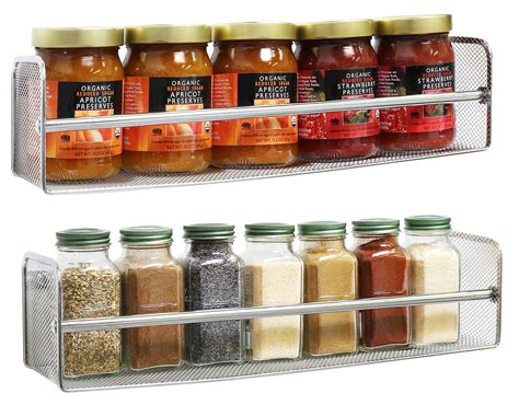 Spice Rack On Wall by Decobros 2 Pack Wall Mount Single Tier Mesh Spice Rack