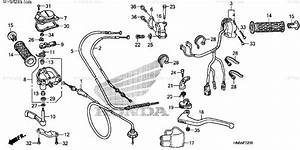 Honda Atv 2014 Oem Parts Diagram For Handle Lever    Switch    Cable