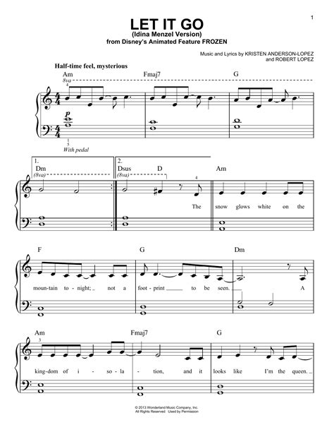 See more ideas about sheet music with letters, piano songs, piano music. Let It Go sheet music by Idina Menzel (Easy Piano - 156431)