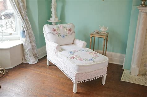 shabby chic chaise chaise lounge shabby chic vintage chenille bedspread slipcover cottage prairie roses white pink