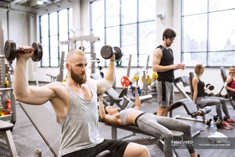 People exercising in gym — healthy, Exercise Equipment ...
