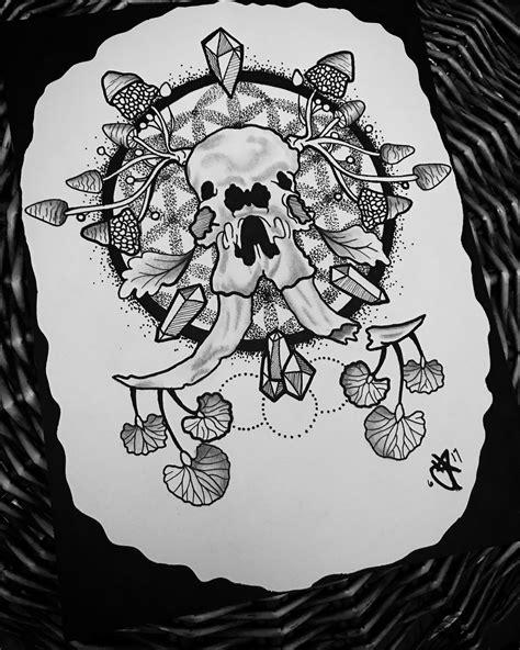 Trippy Elephant Skull Mushroom Tattoo Inspired Friend