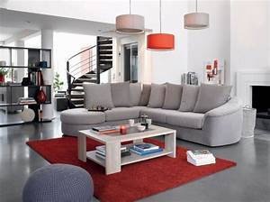 canape gris tapis rouge conforama salon living room With tapis de sol avec canapé convertible rouge fly