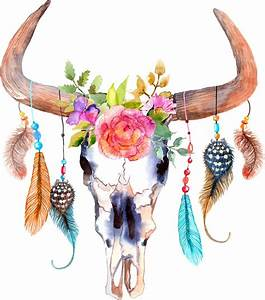 """Bohemian watercolour bull's skull "" Stickers by joellis"