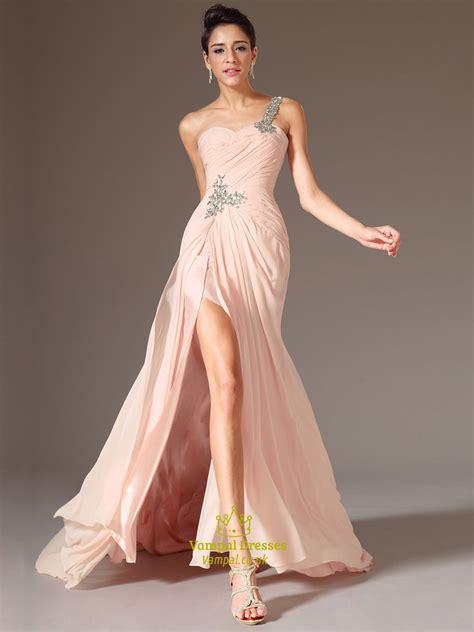 blush pink  shoulder beaded ruched chiffon prom dress
