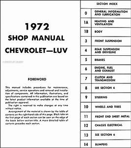 1972 Chevy Luv Repair Shop Manual Original