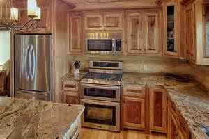 hickory cabinets kitchen rustic with country cabin