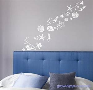 Items similar to beach shells wall decals set of 30 for Beach wall decals