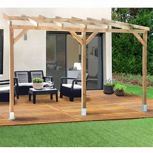Pergola Adosse Bois Trait 3x37 M Plantes Et Jardins