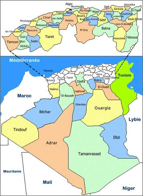 Carte Geographique Villes Algerie by Carte Alg 233 Rie D 233 Partement Carte Alg 233 Rie