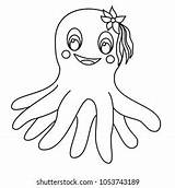 Octopus Cartoon Coloring Happy Tentacles Illustration Isolated Background Shutterstock Vectors Colorful sketch template