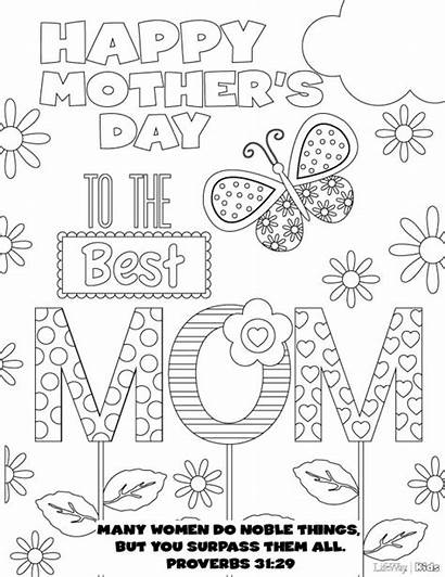 Coloring Pages Mother Mothers Printable Cards Preschool