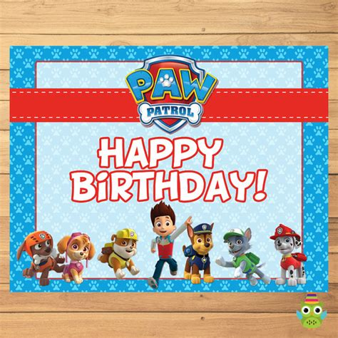 Paw Patrol Birthday Sign Blue * Paw  Partyprintables37. Tiger Decals. Hi Viz Stickers. Dora Banners. Inch Signs Of Stroke. Tiki Mask Murals. 10 February Signs. Numb Signs. Gum Signs