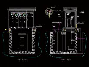 Fosa Detail For Arrival Of Cables In Autocad