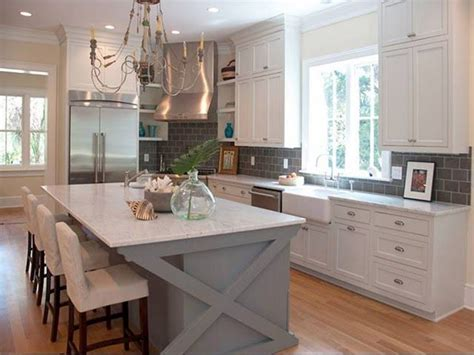 white cabinets  gray counters  blue