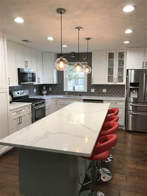 white shaker quartz countertops kitchen white shaker