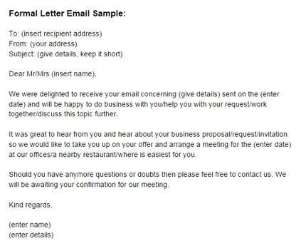 rules     formal email writing