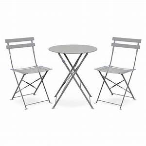 Salon De Jardin Bistrot : salon de jardin bistrot pliable emilia rond gris taupe table 60cm avec deux chaises pliantes ~ Teatrodelosmanantiales.com Idées de Décoration