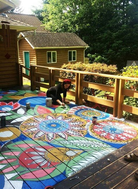 patio floor painting ideas painted deck project home design garden architecture