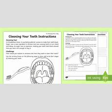 Clean Your Teeth Instructions Worksheet  Activity Sheet