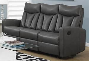 87gy 3 charcoal grey bonded leather reclining sofa 87gy 3 for Gray leather sofa