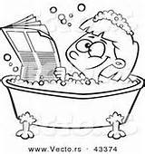 Tub Coloring Outline Cartoon Bath Reading Happy Newspaper Bathing Vector Hygiene Royalty Bubble Designs Vecto Rs sketch template