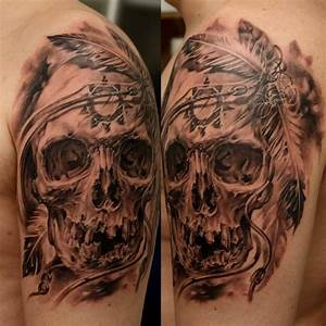 Realistic skull with native american symbols tattoo on ...