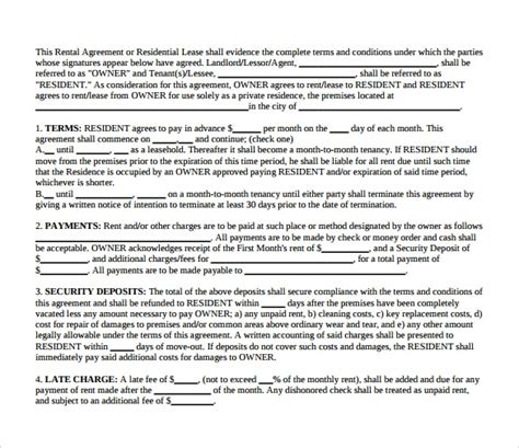 landlord lease agreements  samples examples formats