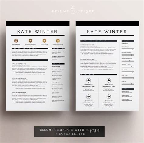 Resume Template The 3pk by Resume Template 4 Page Cv Template Cover Letter For Ms