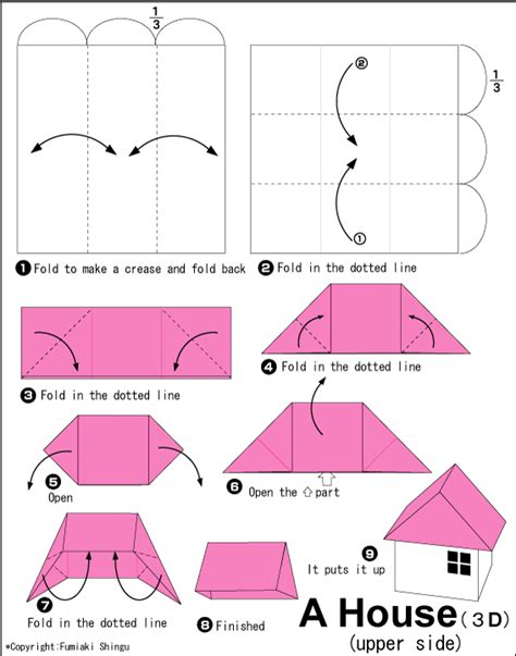 House (3D) - Easy Origami instructions For Kids