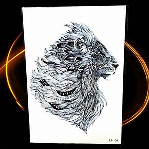 Tatouage Plume Indienne Signification : new indian tribal lion temporary tattoo 21 15cm waterproof feather head tatoo for men women ~ Melissatoandfro.com Idées de Décoration