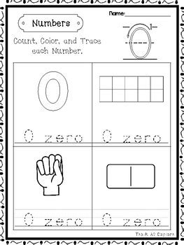 21 numbers 0 20 count color trace worksheets preschool