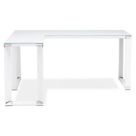 bureau en verre trempé bureau d 39 angle design master en verre trempé blanc