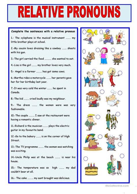 relative pronouns worksheet free esl printable