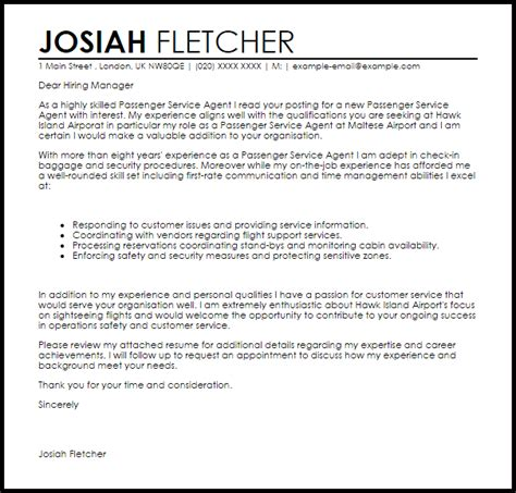 Airport Customer Service Resume by Passenger Service Cover Letter Sle Livecareer