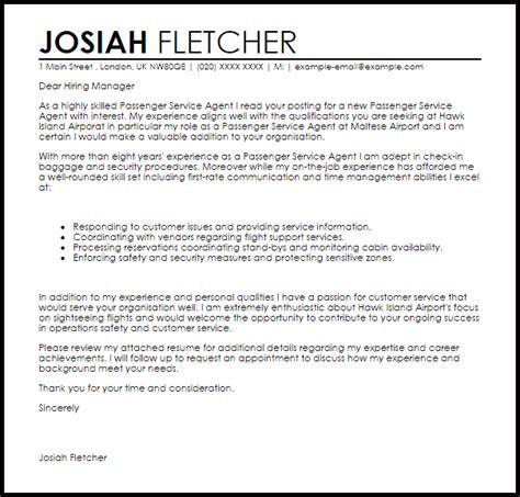 passenger service cover letter sle livecareer
