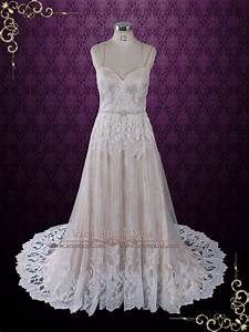 vintage style champagne lace wedding dress with thin With champagne vintage wedding dress