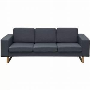 acheter vidaxl canape avec 3 places tissu gris fonce pas With tapis de course pas cher avec canapé 3 places gris foncé