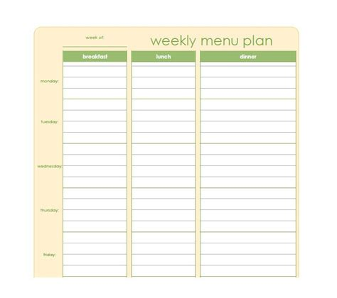Meal Planner Template 40 Weekly Meal Planning Templates Template Lab