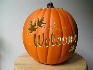 Carved, Welcome, Orange, Pumpkin, With, Maple, By, Purpleinkgraphics