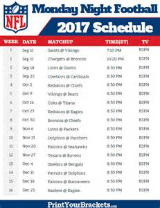 Printable NFL Football Schedule 2017