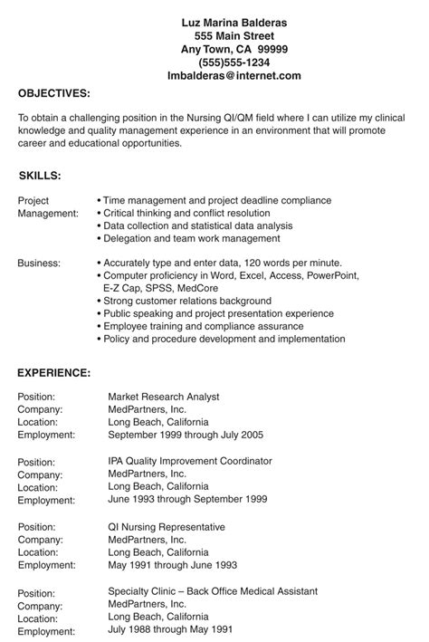 Objective For Resume Exle by Lpn Resume Objectives Free Excel Templates