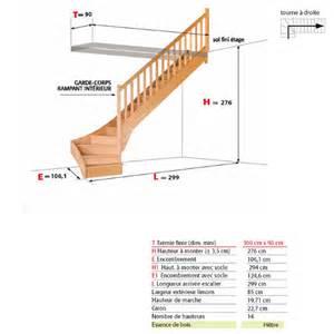 Dimension Escalier Droit Bois by Escalier Bois H 234 Tre1 4 Tournant Bas Bigmat Germat Cussenot
