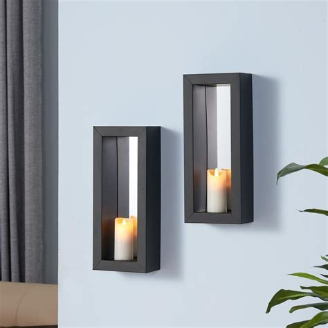 Candle Wall Sconces With Mirror by Danya B Black Metal Frame Pillar Wall Candle Sconces With