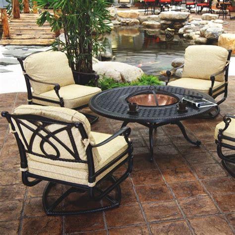 patio furniture fire pit table set grand terrace fire pit set