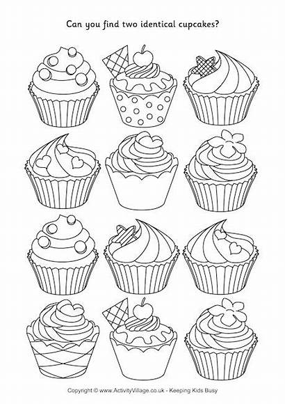 Cupcakes Puzzle Identical Cupcake Coloring Puzzles Flower